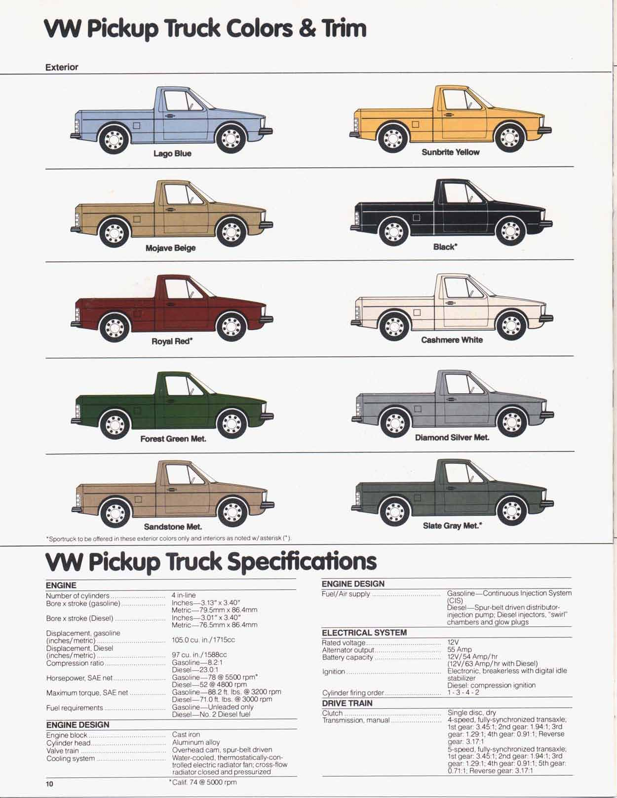 VW Pickup Truck Specs Sheet